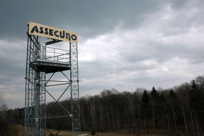 wieża treningowa w centrali assecuro w łazach koło warszawy